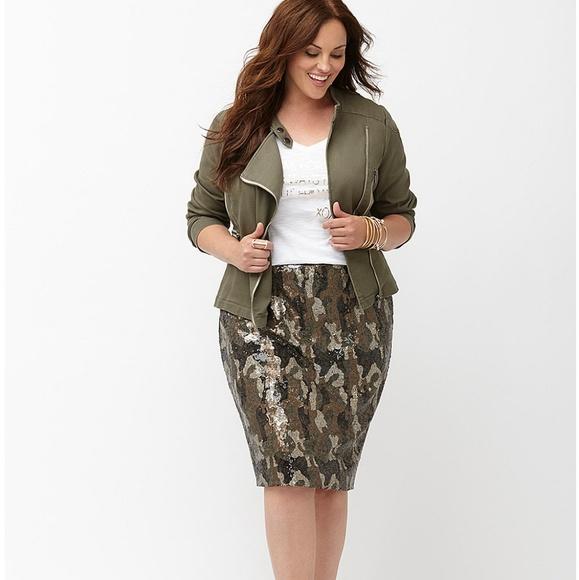 c8e1a0f93e5 Lane Bryant Camo Print Sequin Pencil Skirt